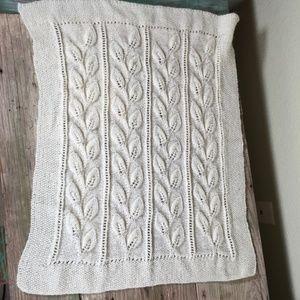 Baby Blanket crochet knit stretchy leaves ivory